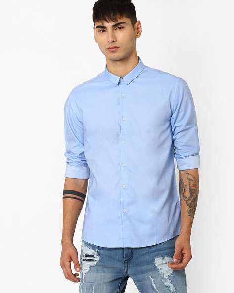 Slim Fit Shirt With Roll-Up Tabs By VOI JEANS ( Lightblue )