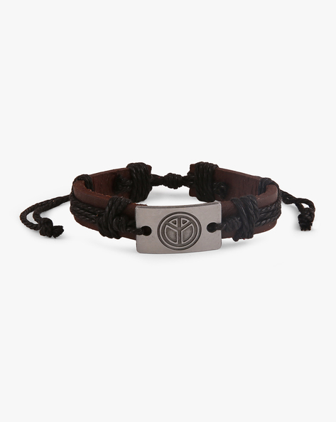 Faux-Leather Bracelet With Metallic Accent By ALPHA MAN ( Black )