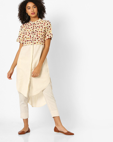 High-Low Kurta With Printed Bodice By Global Desi ( Natural )