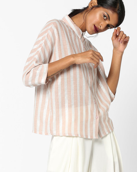 Striped Shirt With Panelled Sleeves By Fame Forever By Lifestyle ( Beige )