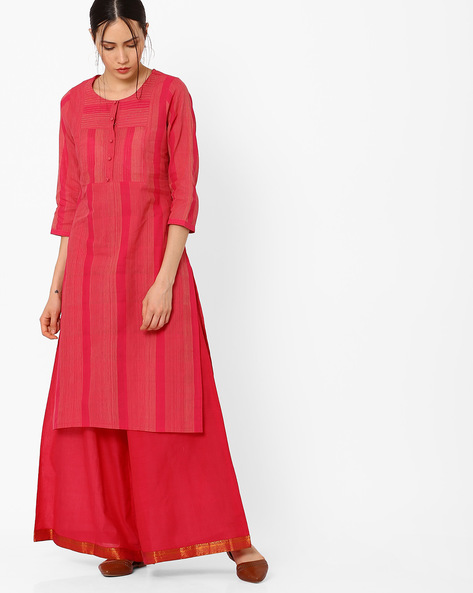 Striped Handwoven Mangalgiri Cotton Kurta By SWADESH ( Pink )