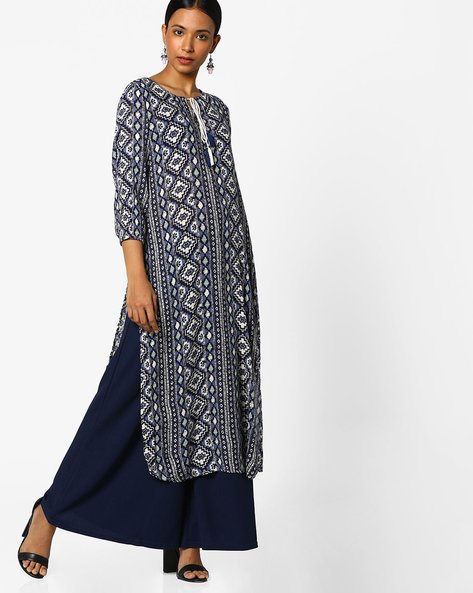 Straight Kurta With Tassel Tie-Up By Melange By Lifestyle ( Navy )