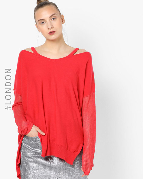 High-Low Strappy Pullover With Mesh Panel By Glamorous ( Red )