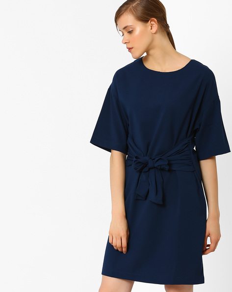 Shift Dress With Waist Tie-Up By AJIO ( Navyblue )