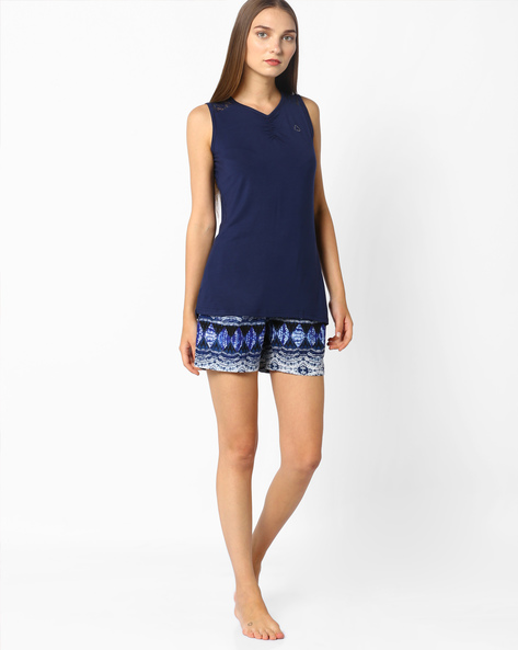 Printed Short With Elasticated Waist By Sweet Dreams ( Navyblue )