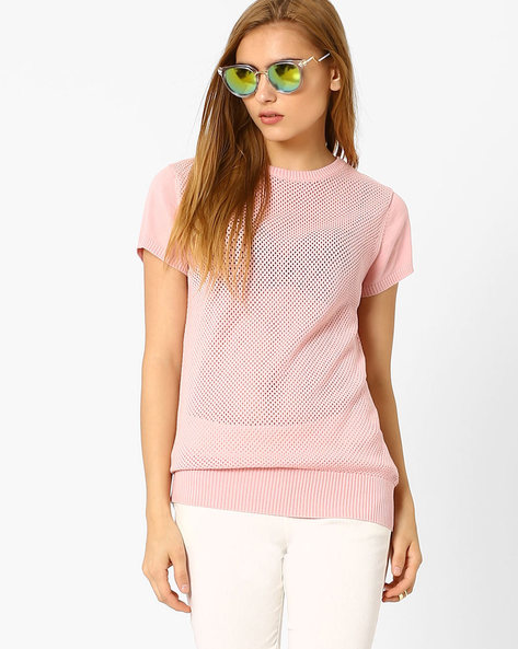 Open-Knit Sweater By FIG ( Pink )