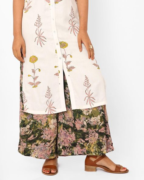 Printed Palazzo Pants With Tie-Up By Vajor ( Green )