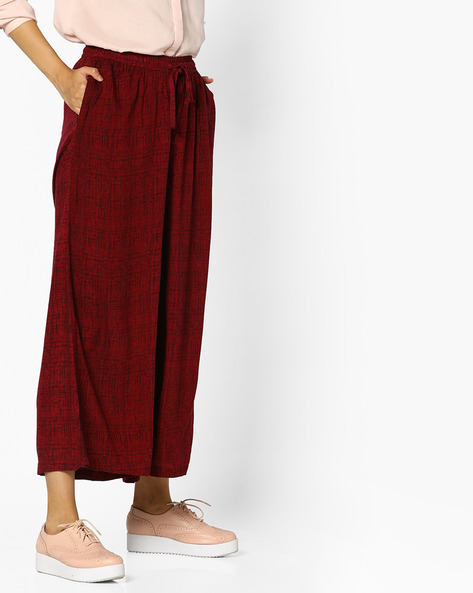 Printed Flared Palazzos By PE IW Casual ( Maroon )