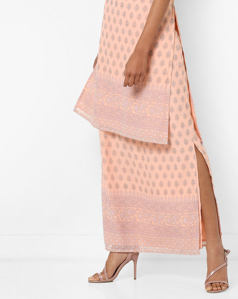 Printed Maxi Skirt With Slits By AJIO ( Peach )