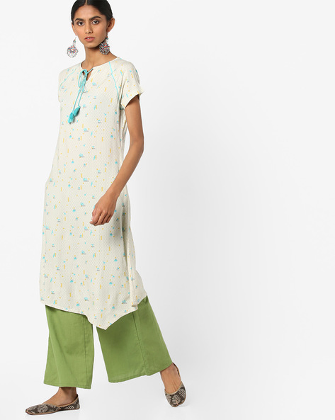 Asymmetrical Printed Kurta With Raglan Sleeves By AJIO ( Offwhite )