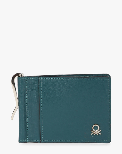 Genuine Leather Bi-Fold Wallet By UNITED COLORS OF BENETTON ( Olive )