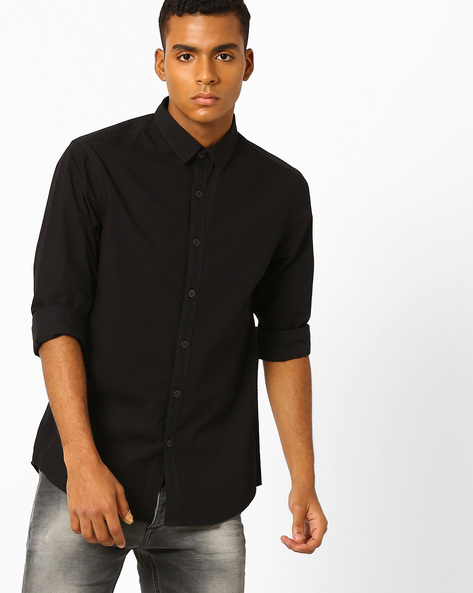 Slim Fit Cotton Shirt By AJIO ( Black )