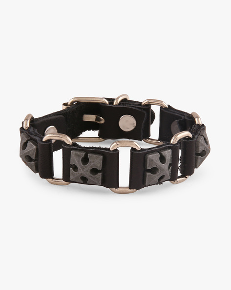 Faux Leather Bracelet With Metallic Studs By ALPHA MAN ( Multicolor )
