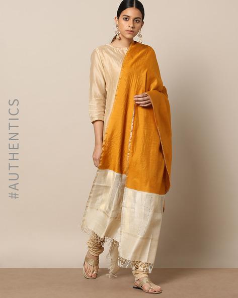 Handloom Pure Silk Tussar Muga Dupatta By Indie Picks ( Mustard )