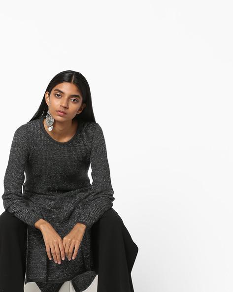 Woollen Kurta With Ribbed Hems By AVAASA MIX N' MATCH ( Charcoal )
