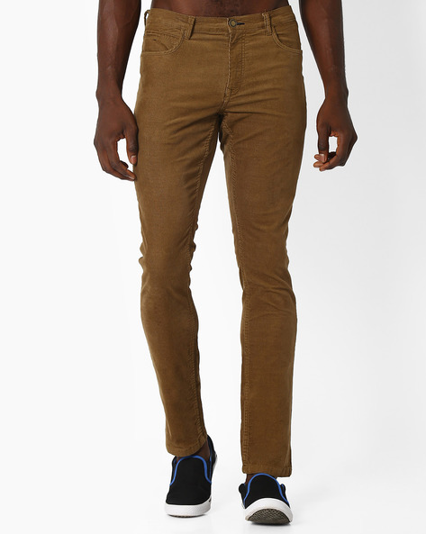 Slim Corduroy Chinos By NETPLAY ( Khaki )