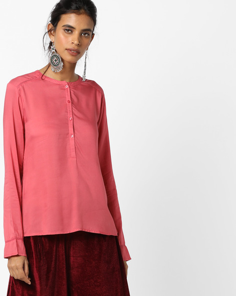 Top With High-Low Hem By UNITED COLORS OF BENETTON ( Pink )