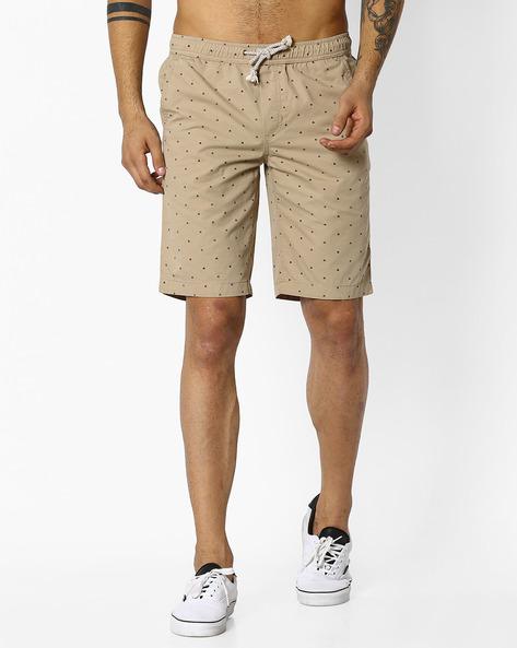 Geometric Print Regular Fit Shorts By TEAM SPIRIT ( Khaki )