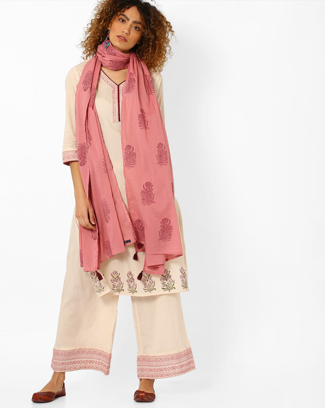 Printed Kurta With Palazzo Pants And Dupatta By AJIO ( Offwhite )