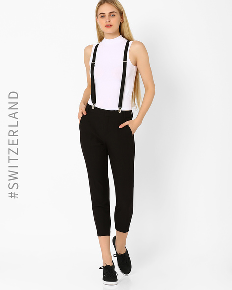 Crop Trousers With Suspenders By TALLY WEiJL ( Black )