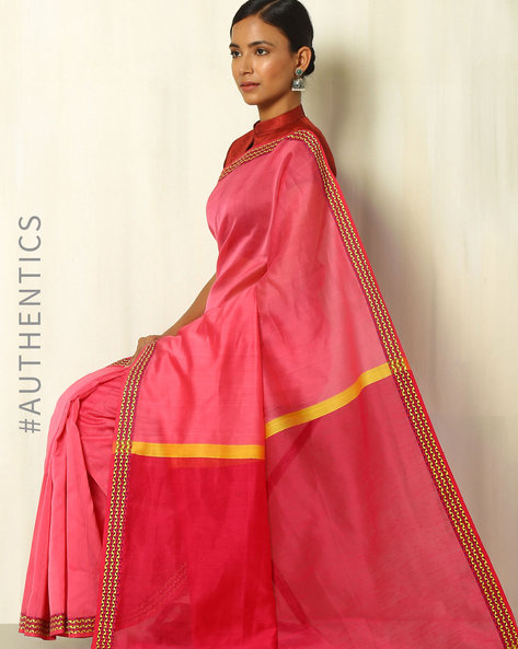 Handloom Maheshwari Silk Cotton Saree With Zari By Indie Picks ( Pink )