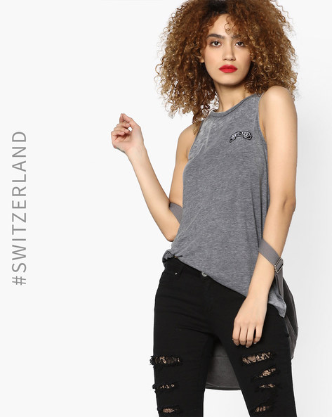 Sleeveless Top With Tie-Up By TALLY WEiJL ( Grey )
