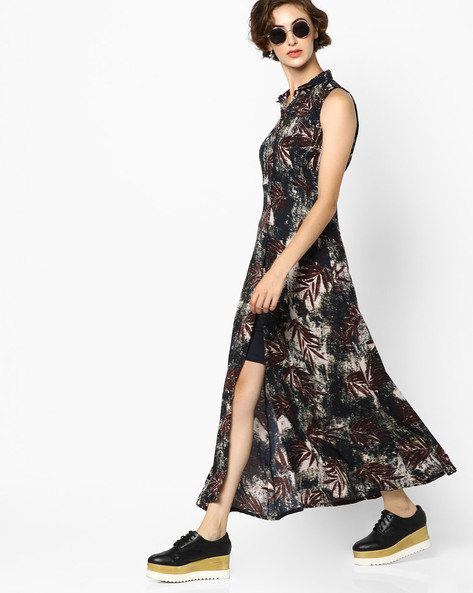 Printed Dress With Front Slit By CODE By Lifestyle ( Green )