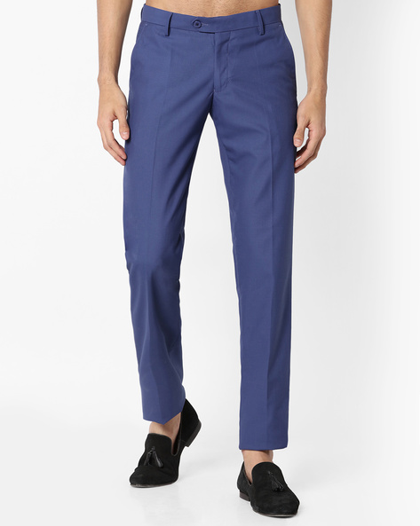 Slim Fit Flat-Front Trousers By VIMAL APPARELS ( Indigo ) - 438043058001