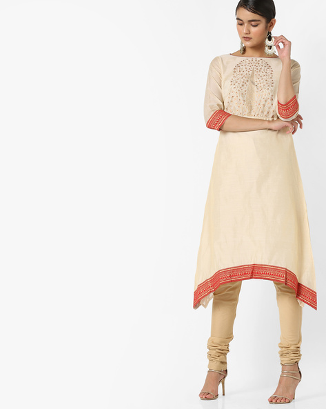 Printed Kurta With Dipped Hemline By Rangmanch By Pantaloons ( Offwhite )