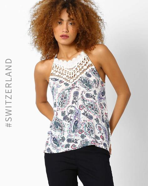 Printed Spaghetti Top With Crochet By TALLY WEiJL ( Multi )