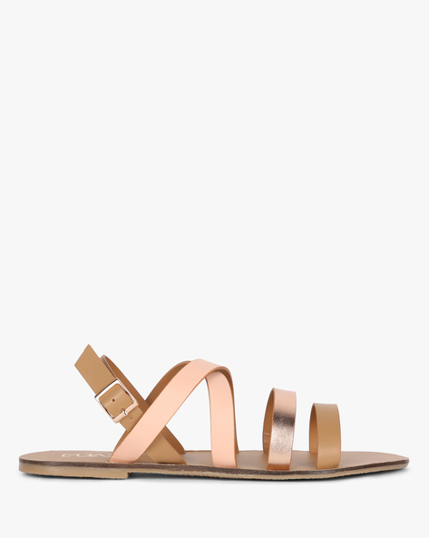 Strappy Flat Sandals With Buckle Closure By MUAZ ( Nude )
