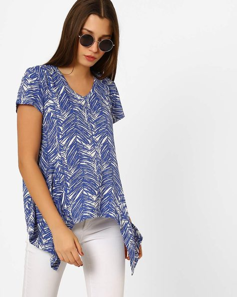 Printed High-Low T-shirt By CHM ( White )
