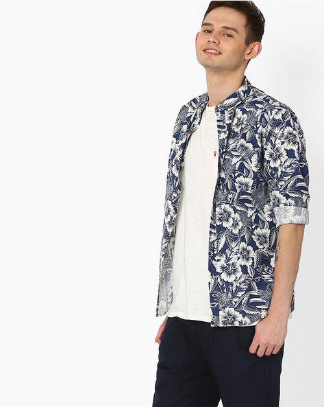 Havana Print Slim Fit Shirt By AJIO ( Blue )