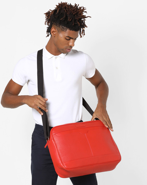 Genuine Leather Messenger Bag By JUSTANNED ( Red )