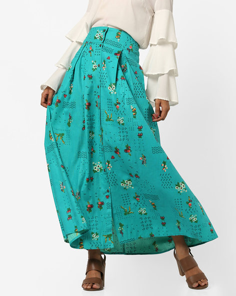 Printed Button-Down Maxi Skirt With Pleats By AJIO ( Teal )