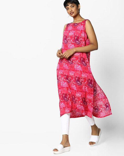 Floral Print Kurta By PE IW Casual ( Pink )