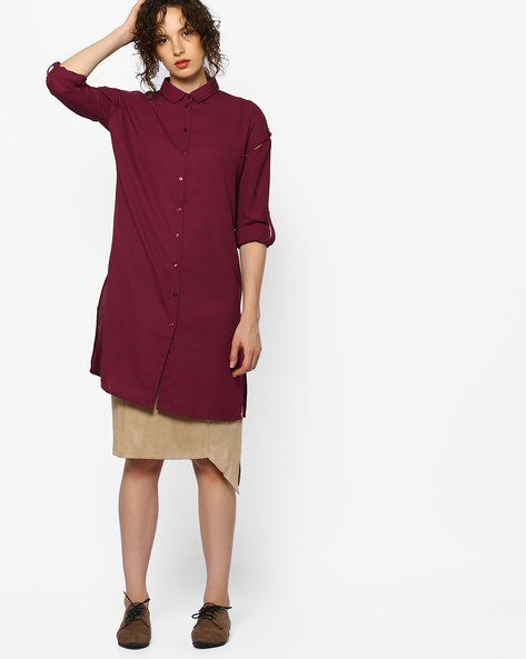 Shirt Tunic With Cut-Outs By AJIO ( Maroon )