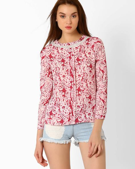 Printed Top With Lace Panel By FIG ( Maroonburg )