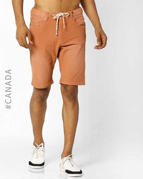 Knit Denim Shorts With Drawstring Fastening By Point Zero ( Papaya )