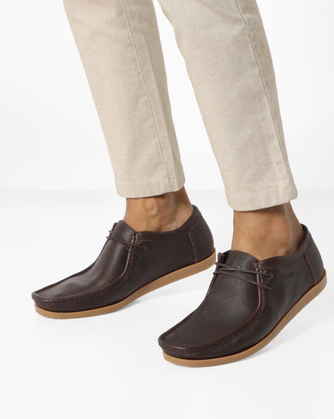 Textured Lace-Up Casual Shoes By BUCKAROO ( Brown )