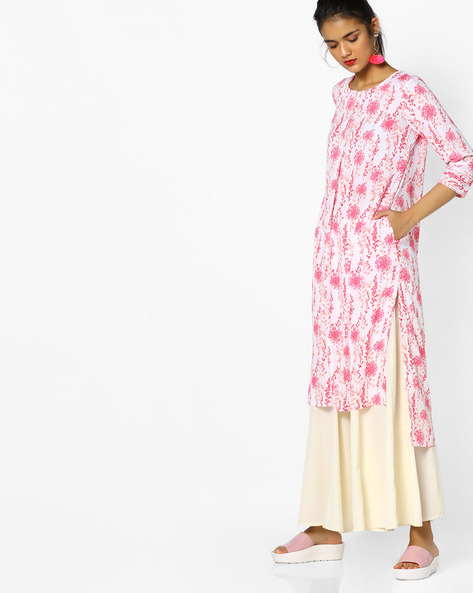 Floral Print Kurta With High-Low Hem By Project Eve IW Casual ( Babypink )