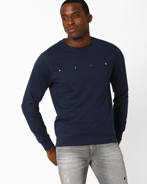 Core Regular Fit Sweatshirt With Round Neck By AJIO ( Navy )