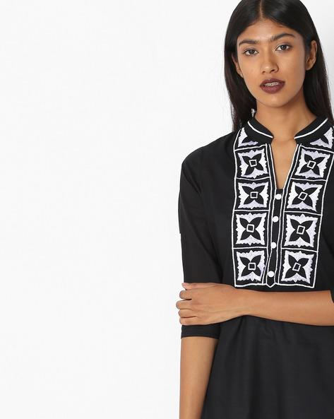 Straight Kurti With Embroidered Yoke By KIRA ( Black )