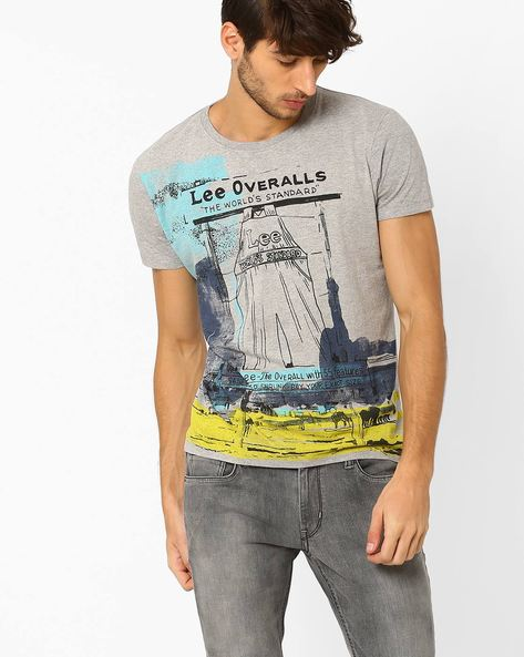 Graphic Print Slim T-shirt By Lee ( Gray )