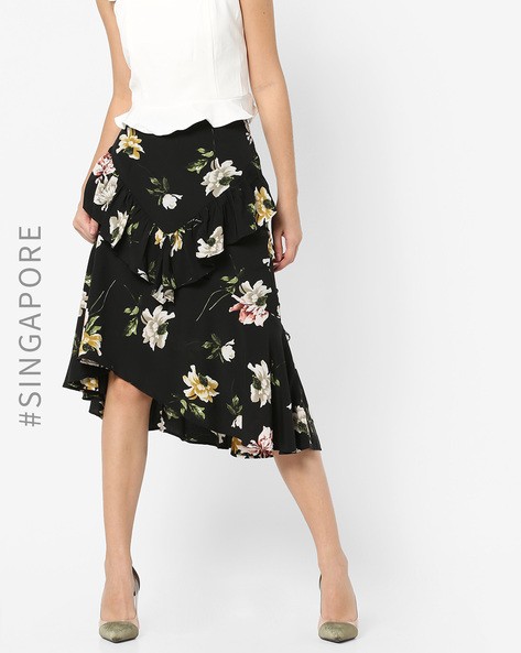 Floral Print High-Low Ruffled Skirt By MDS ( Black )