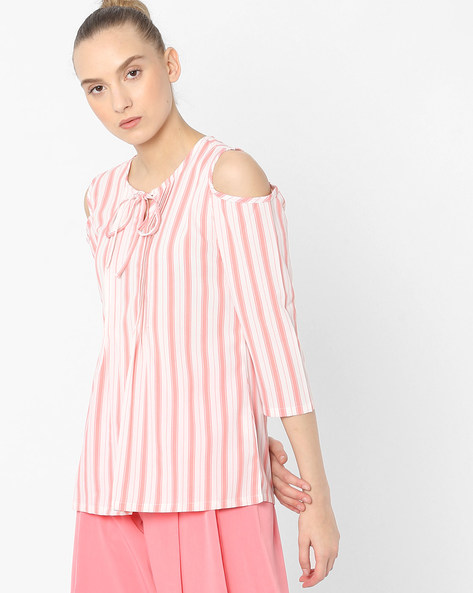 Striped Cold-Shouldered Top By Tokyo Talkies ( Multi ) - 460158713001