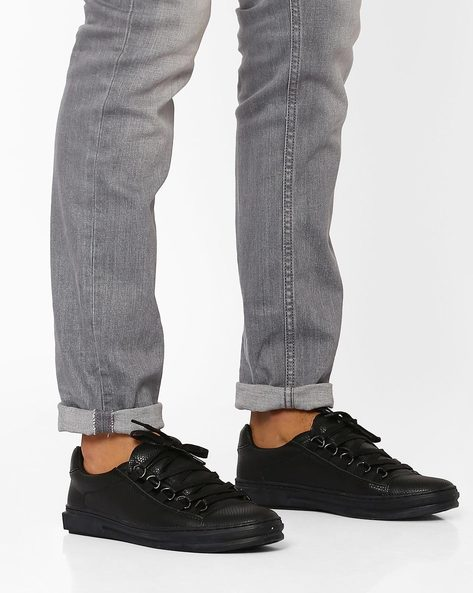 Textured Lace-Up Sneakers By AJIO ( Black )