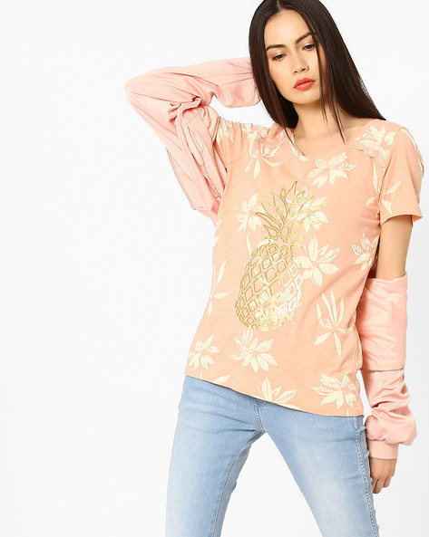 Floral Print Cotton Top By Vero Moda ( Coral )