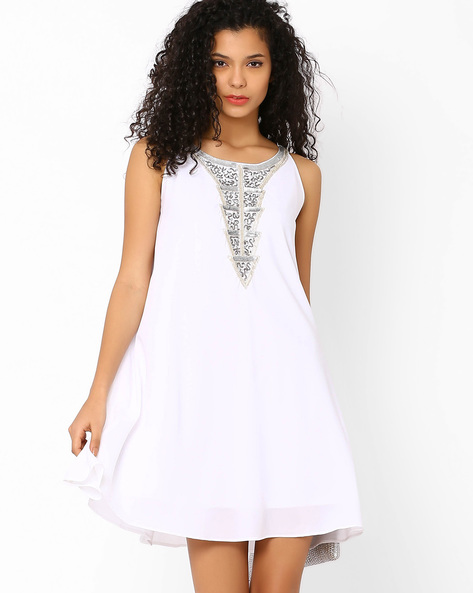Swing Dress With Sequined Neckline By AJIO ( Offwhite )