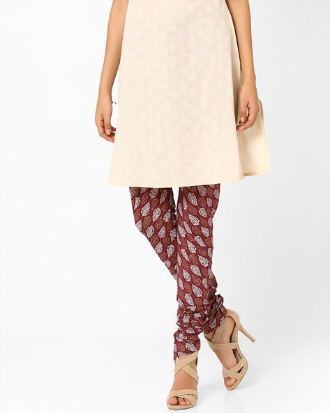 Printed Churidar Pants By AJIO ( Maroon )